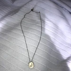 'J' necklace. Indian Sterling silver